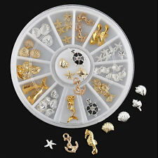 3D Nail Art Decoration Ocean Alloy Jewelry Glitter Rhinestones + Wheel SM