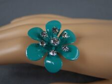 teal Aqua flower ring painted crystal flower cocktail ring adjustable