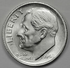 1948-s Roosevelt Dime.  Fully Separated Horizontal Torch Line's.  BU.  (INV.E)