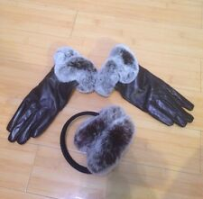 Victoria X. Wang Genuine Leather & Fur Earmuffs and Gloves BROWN