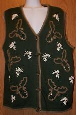 Womens Moose Embroidered Christopher & Banks Sweater Vest Size Medium excellent