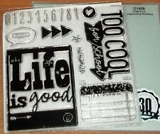 CTMH D1606 CHALK IT UP WORKSHOP STAMP ~ LIFE is good, TOO COOL, FOR SCHOOL,0-9