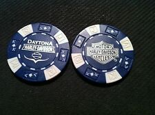 "Harley Poker Chip (Blue & White) ""Daytona Beach H-D"" Florida"