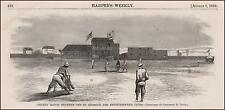 CRICKET MATCH BETWEEN MONTREAL & NEW YORK CLUBS, ANTIQUE ENGRAVING ORIGINAL 1868
