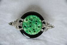 KENNETH J LANE Crystal Jade Brooch Pin Jewelry GORGEOUS PIECE!