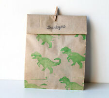 10 x DINOSAUR Print Paper Party favour bags GREEN or BLACK (peg included) Active