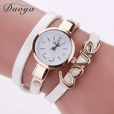 Fashion Women Stainless Steel Leather Crystal Love Bracelet Quartz Wrist Watches