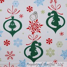 BonEful Fabric Cotton Quilt White Green Red Grinch Snowflake Xmas Candy US SCRAP