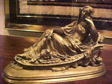 BRONZE STATUE OF WOMAN  ON FRENCH CHAISE LOUNGE