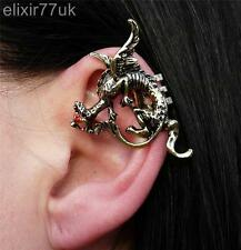 NUOVO gold Dragon Ear Cuff Clip Wrap Lure Rosso Cristallo Orecchino Gotico Punk Regalo UK