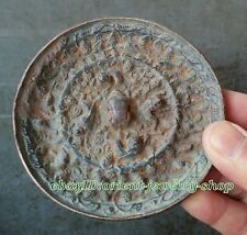 Collectables! Dynasty Old Chinese Bronze mirror Ancient Statue 10.5cm