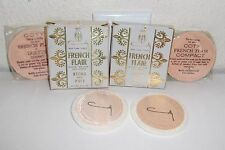 Lot of 2 Vintage Coty French Flair Pressed Face Powder Compacts Refills & Puff