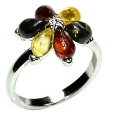 3g Authentic Baltic Amber 925 Sterling Silver Ring s.9 A7304S9