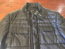 "HUGO BOSS Mens ""GARFIN"" BLACK 40 R 100% SHEEPSKIN LEATHER JACKET NWT NEW $845.00"