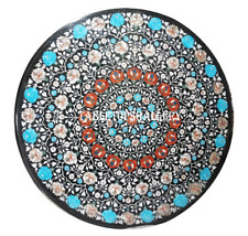 """36"""" Marble Dining Table Top Turquoise Stone Floral Inlay Hallway Decor H911A"""