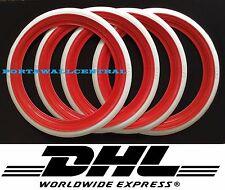 """Original ATLAS 15"""" Red&White Port a walls Tire Trim set VW BUG PRE BEETLE Rare"""