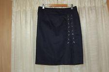 Nanette Lepore Navy Blue Cotton/Linen Skirt Size 6