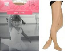 Dance Tap Ice Skating CAPEZIO Ultra Shimmery suntan footed tights Girl size MS