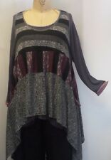 Coco & Juan Plus Size Layering Tunic Top  Lagenlook  Mixed Knit 5 1X 2X 3X B60""