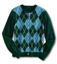 Lands End - M Tall (10/12) $79 Green/Blue Argyle Plaid Cotton Cardigan Sweater