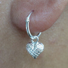 Pair of Silver Heart Stud Earrings 925 Sterling Small Hoop Ear Studs Jewelry