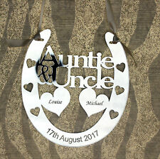 Personalised Auntie and Uncle Goodluck Bridal Wedding Horseshoe Anniversary Gift