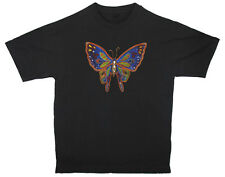 HAND BEADED & PAINTED BUTTERFLY BLACK T-SHIRT - Large .. yellow bead outline