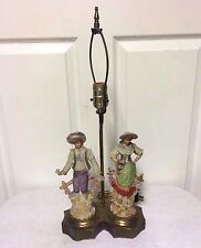Vintage 1940s CORDEY  Victorian Porcelain MAN & WOMAN Figurine Table Lamp - NICE