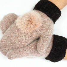 Womens Ladies Wool Fleece Gloves Winter Warm Lining Thick Mittens Winter New