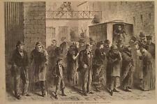 PRISON VAN DISCHARGING CRIMINALS AT THE TOMBS NEW YORK HARPER'S WEEKLY 1871