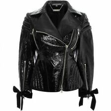 NEW Authentic Alexander McQueen Ivy Embossed Black Patent Leather Biker Jacket S