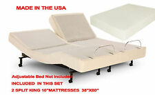 "10"" SPLIT KING Deluxe Memory Foam Mattress for Adjustable Beds MADE IN THE USA"