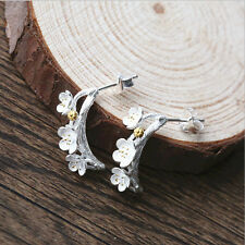 Fashion Jewelry 925 Soild Silver Cherry Blossoms Charm Stud Sterling Earring