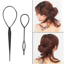 2PCS Ponytail Creator Plastic Loop Styling Tool Topsy Pony Tail Hair Braid Black