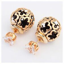 ED3 Double Sided Lightweight Gold Black Metal Ball Loose Crystal Post Earrings