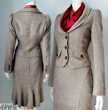 1940's TWEED suit FISHTAIL wiggle SEXY ww2 LAND GIRL brown UTILITY f&f 10 8