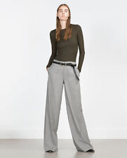 ZARA LIGHT GREY MARL WIDE LEG PALAZZO STYLE TROUSERS SIZE S UK 10