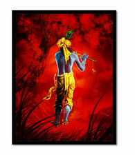"Beautiful Krishna Matt Framed Painting/Scenery-12""x 18"" Wall Art by Dreamzdeocor"