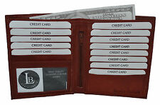 WALLET HIPSTER BURGUNDY  NEW GENUINE LEATHER FITS 13 CREDIT CARDS
