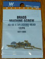 """Walthers #947-1005 / 00-90 Brass Round Head Machine Screw -- 3/8 x .047"""""""