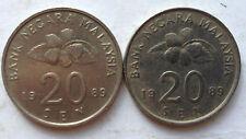 Malaysia 20 sen 1989 coin 2 pcs