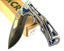 "CRKT NIRK Tighe 2 Knife 3 ¼"" AUS8 S. Steel Blade SS Handle w/ Blue TiNi Interior"