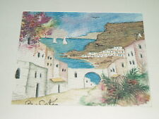 CHARMING ORIGINAL WATERCOLOUR GREEK ISLANDS SIGNED B. COTES MOUNTED LOVELY COND!