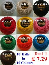 10 ANCHOR Pearl Cotton Crochet Embroidery Thread Balls. Choose Favorite Deals