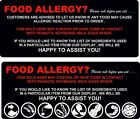 FOOD ALLERGY STICKERS ICECREAM CATERING TRAILER CAFE RESTAURANT
