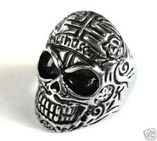 Punk men's stainless steel solid motor biker flower skull head Ring size 10
