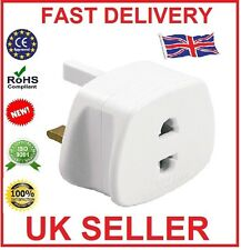 2 X EU 2 Pin To 3 Pin UK ELECTRIC SHAVER TOOTHBRUSH PLUG ADAPTOR (PACK OF 2)
