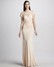 $740.00 New Badgley Mischka Embellished Evening Blush Gown Dress Size 10 BEYOU*