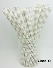 25 pcs Paper Drinking Straws Horizontal Stripe Drinking Straw For Party color 18