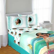 Kids Bed Sheet Set Full Size Moana Bedroom Girl Boy 3 Pieces Colorful Soft Decor